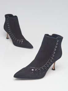 Manolo Blahnik Black Suede Forga Ankle Boots Size 9/39.5