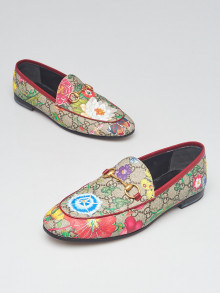 Gucci Beige/Multicolor GG Supreme Floral Print Coated Canvas Jordaan Loafers Size 7/37.5