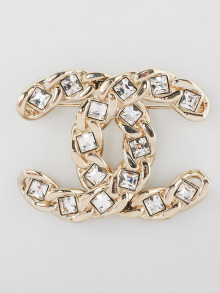 Chanel Goldtone Metal and Crystal CC Brooch