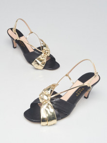 Gucci Metallic Gold/Black Leather Daphne Bow Mid Heel Sandals Size 9.5/40