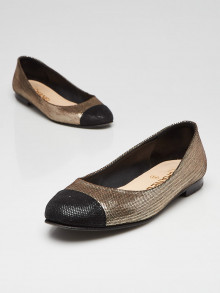 Chanel Black and Gold Leather Crystal Cap Toe CC Flats Size 5.5/36