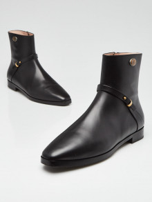 Gucci Black Leather Elite GG Ankle Boots Size 8.5/39