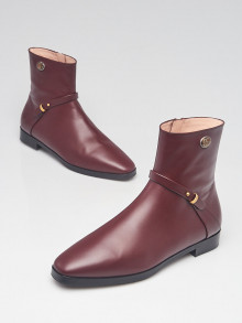 Gucci Burgundy Smooth Leather Double G Strap Ankle Boots Size 7.5/38