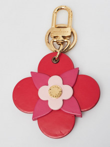 Louis Vuitton Pink/Red Leather Flower Key Holder and Bag Charm