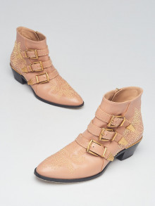 Chloe Reef Shell Leather Studded Susanna Ankle Boots Size 10/40.5