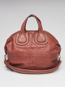 Givenchy Brown Lambskin Leather Large Nightingale Bag