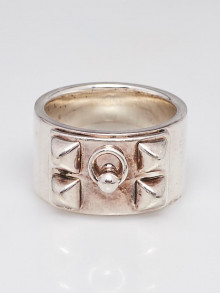 Hermes Sterling Silver Collier de Chien Ring Size 54/7