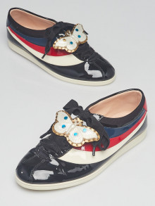 Gucci Red/White/Blue/Black Patent Leather Butterfly Falacer Sneakers 7/37.5