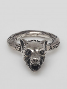 Gucci Silver Anger Forest Wolf Head Ring Size 5