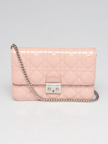 Christian Dior Pink Cannage Quilted Patent Leather Small Miss Dior Flap Crossbody Bag