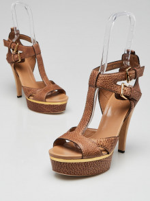 Gucci Brown Pebbled Leather Open Toe Platform Sandals Size 9/39.5