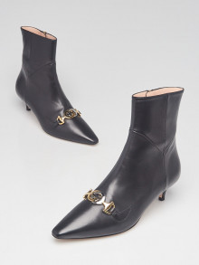 Gucci Black Leather Zumi Kitten Heel Ankle Boots Size 5.5/36
