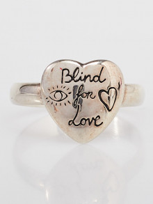 Gucci Sterling Silver Blind For Love Heart Ring Size 9/19