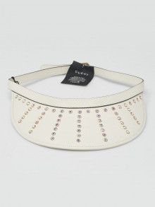 Gucci White Lambskin Leather Crystal Strass Visor Hat Size M