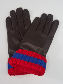 Gucci Brown Leather Ribbed Cuff Gloves Size M/9.5