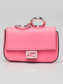 Fendi Fluorescent Pink Pebbled Leather Nano Baguette Keychain and Bag Charm 7AR763