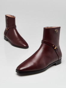 Gucci Burgundy Smooth Leather Elite GG Ankle Boots Size 9.5/40