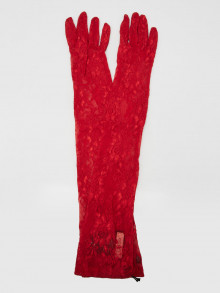 Gucci Red Lace Long Sleeve Gloves Size 7/S