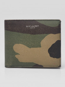 Yves Saint Laurent Camouflage Printed Grained Leather Bi-Fold Wallet