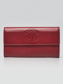 Chanel Red Caviar Leather CC L-Gusset Flap Wallet
