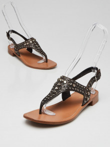 Prada Brown Leather Crystal/Studded Thong Sandals Size 7.5/38