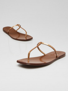 Yves Saint Laurent Gold Pebbled Leather Bali T-Strap Thong Sandals Size 7/37.5