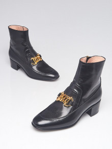 Gucci Black Leather Quentin Ankle Boots Size 6/36.5