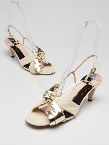 Gucci Gold/Ivory Leather Daphne Bow Mid Heel Sandals Size 11.5/42