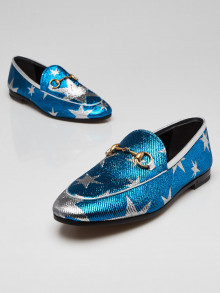 Gucci Blue/Silver Starry Sky Print Lurex Jordaan Loafers Size 6/36.5