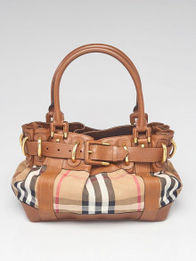 Burberry Brown Leather Bridle House Check Canvas Shoulder Bag