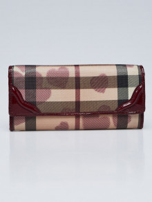 Burberry Berry Patent Leather Nova Coated Canvas Heart Continental Wallet