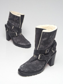 Christian Louboutin Grey Suede and Shearling Triple Buckle Boots Size 10.5/41