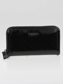 Burberry Black Check Embossed Patent Leather Zip Wallet
