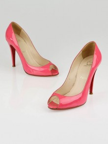 Christian Louboutin Bubblegum Pink Patent Leather Peep Toe Pumps Size 8.5/39