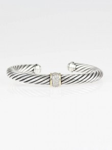 David Yurman 7mm 18k Gold and Sterling Silver Diamond Station Cable Bracelet