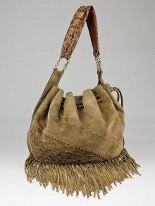 Jimmy Choo Camel Suede and Snakeskin Trim Tatum Fringe Hobo Bag