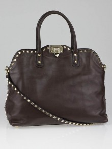 Valentino Cacao Leather Rockstud Dome Double Handle Bag