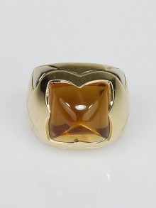 Bvlgari 18k Gold and Citrine Pyramid Ring Size 6