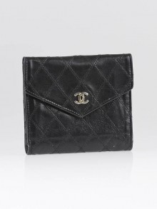 Chanel Black Quilted Lambskin Leather Compact Wallet