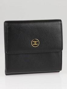 Chanel Black Leather CC Logo Compact Wallet