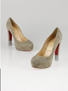 Christian Louboutin Grey Suede Crystal Filter 140 Pumps Size 9/39.5