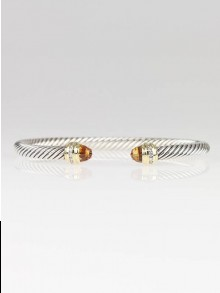 David Yurman 5mm Citrine and Diamond Silver Ice Collection Cable Bracelet