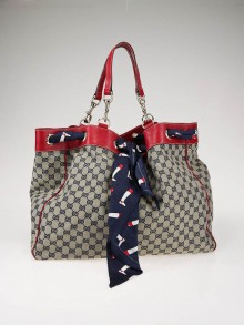 Gucci Navy Blue/Beige GG Canvas Positano Large Tote Bag