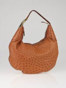 Gucci Tan Ostrich Leather Buckle Hobo Bag