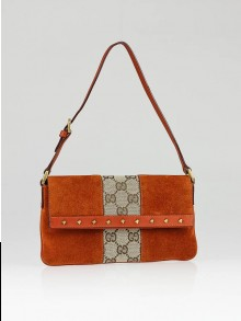 Gucci Beige GG Canvas Orange Suede Studded Clutch Bag