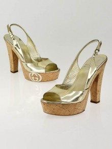 Gucci Gold Leather Grease Platform Sandals Size 7.5/38