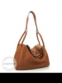 Hermes 34cm Gold Clemence Leather Lindy Bag