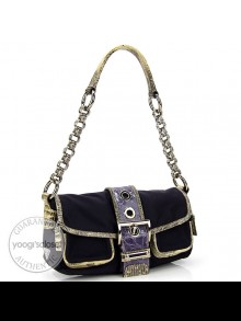 Prada Python/Purple Tessuto Patch Catena Shoulder Bag BR2835
