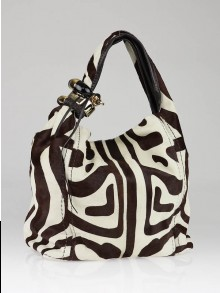 Jimmy Choo Brown/White Zebra Print Pony Hair Saba Large Hobo Bag