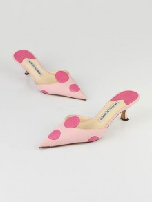 Manolo Blahnik Pink Canvas Leather Dots Mules Size 5.5/36